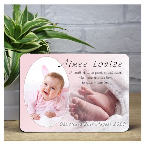 Personalised Pink Girls Christening Baptism Baby Wood Photo Panel Print F15